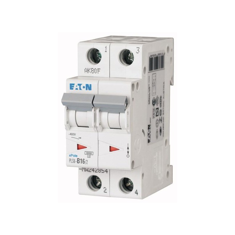 C16A 2P WYŁĄCZNIK NADPRĄDOWY PLS6-C16/2-MW 242880 EATON